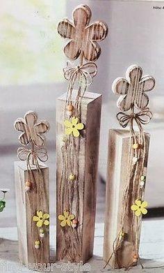 3 Holz Blume Blumen Deko Sockel Säulen Frühling Sommer Ostern Fenster shabby