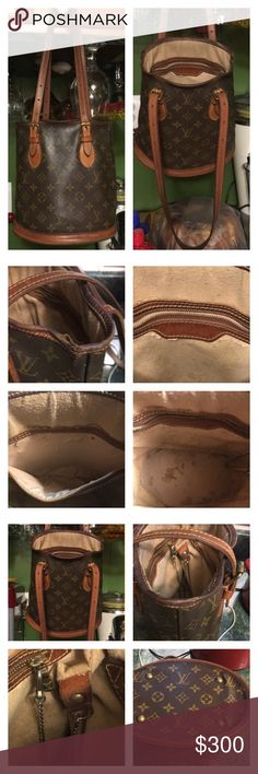 "Authentic Louis Vuitton Sm Bucket Handbag This Chic & Classic LV Monogram Petite 23 (France - SD0012)) bucket handbag looks and feels vintage, due to its aging within its leather trim as seen on pictures. Exterior body in great shape, and interior has completely peel off leaving only the under layer of material. D-ring and change attached but No Pochette. There are several pen marks on bottom and some in side zipper pocket. Its measurements are L 8.75"", H 10"", and Depth is 6"". Selling as is…"