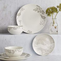Patterned with various woodland themed designs printed in a wood cut style in a neutral taupe colourway, this 12 piece dinner set includes four dinner plates, f. Woodland Theme, Side Plates, Dinner Sets, Taupe Color, Cut And Style, Dinner Plates, Decoration, Pattern Fashion, Decorative Plates