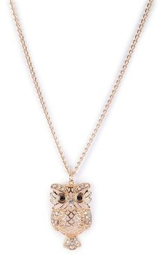 Deb Shops Long Necklace with Owl Pendant $6.00