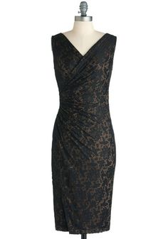 Vaude-Veil Nights Dress - Long, Black, Tan / Cream, Lace, Cocktail, French / Victorian, Sheath / Shift, Sleeveless, V Neck, Party, Holiday Party, Pinup