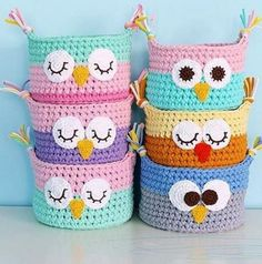 Crochet Owl Basket From TShirt Yarn Tshirt yarn Animals - Crochet baskets Knitted baskets for the house Baby baskets Baskets to store toys Interior basket Baskets for small things. Owl Baskets Cute by Photo by . Basket Weave with spaghetti rope - Page 4 Crochet Storage, Crochet Diy, Crochet Home, Crochet Gifts, Crochet Owls, Crochet Frog, Crochet Ideas, Crochet Coaster, Crochet Owl Basket