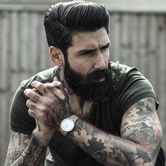 Carlos Costa - full black beard mustache beards bearded man men mens' style barber hair hairstyle hair cuts tattoos tattooed bearding #beardsforever