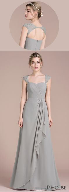 Glamorous and elegant, this silver bridesmaid dress features a ruched sweetheart bodice and lace straps that frame a cut-out back. Romantic cascading ruffles fall down from the natural waist to the floor-length hem. Elegant Dresses, Beautiful Dresses, Nice Dresses, Casual Dresses, Formal Dresses, Party Gowns, Wedding Party Dresses, Lace Bridesmaid Dresses, Prom Dresses