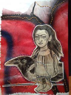 10 Tuesdays. 10 Fridas. Frida No. 9: Frida and the magpie portrait   Katarina Thorsen Art Blog