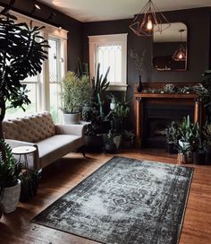 Overdyed rug in a moody living room