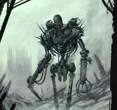 Wilderness by DaveAllsop on DeviantArt Monster Design, Monster Art, Sci Fi Fantasy, Dark Fantasy, Robots Characters, Robot Concept Art, The Revenant, Steampunk, Dark Pictures