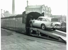 James Bond Aston Martin DB5 being loaded onto the Daytime Anglo Scottish Car Carrier athe the Caledonian Road loading bay.