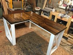 L-shaped desk made using 2x4s and 2x8's