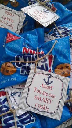 Nautical Chips Ahoy Idea for Teacher Appreciation. School Treats, School Gifts, Student Gifts, School Snacks, Teacher Treats, School Stuff, School Parties, 3rd Grade Classroom, New Classroom