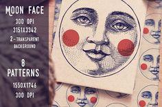 Moon Face Patterns vector by ZiziMarket on @creativemarket