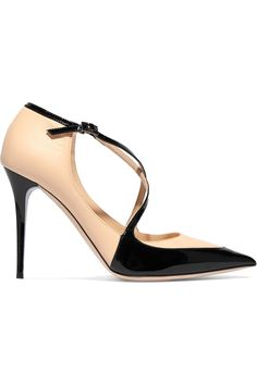 Jimmy Choo Two-tone paneled leather pumps...pointed toe, with straps, patent leather and a black and nude combo, perfection!