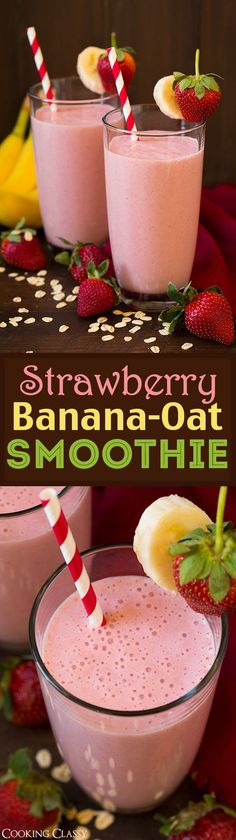 Strawberry Banana Oat Smoothie - my whole family LOVES this smoothie! It's creamy filling refreshing and it's perfectly delicious!