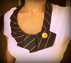 Upcycle an old necktie as a pretty shirt collar! Looks easy and cute!