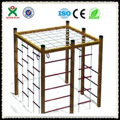 Don't know how to order this, but maybe it could be fabricated here? Jungle gym China wholesale climbing frames wooden outdoor wooden playsets for kids QX-077C