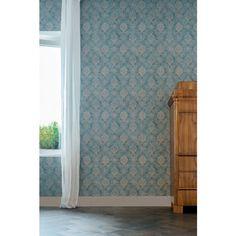 Papier peint Médaillons fleuris bleu ro - collection Anvers de Montecolino : Papier peint chambre, Cuisine, entrée, pièce à vivre, Salle de bain à motifs