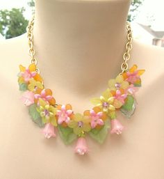 Woodland Fairy Spring Lucite Layered Flower Necklace on Etsy, $70.61 CAD
