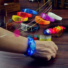 Stand out in the crowd at concerts, raves, or any other evening event with these LED sound activated bracelets that flash and light up to the rhythm of the music! Easy to activate and ready to use with non-replaceable batteries, your sound sensitive bracelet two pcs bright leds features 1 light up setting, a flicker! Imprint your big logo,impress anybody!