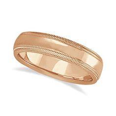 Mens Shiny Double Milgrain Wedding Ring Band 14k Rose Gold (5mm), Men's, Size: 14.5