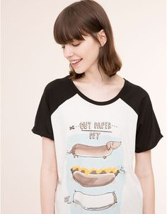 Pull&Bear - woman - t-shirts and tops - baseball style t-shirt - ice - 05240303-I2015
