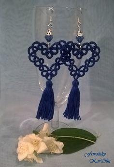 tatted tassel earings - tatted jewellery from Frivolitky KarOlin, handmade jewellery
