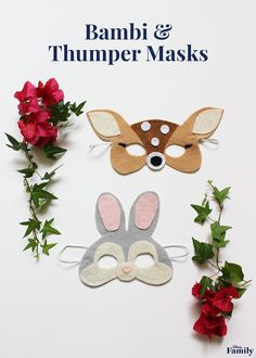 "To celebrate the 75th anniversary of the beloved classic Bambi, make your ""deer"" little ones cute animal masks. These DIY Bambi and Thumper Masks will have them prancing around and jumping for joy! Click for the Bambi tutorials."