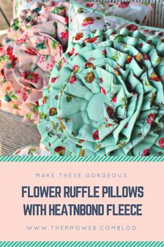 Flower Ruffle Pillow tutorial with HeatnBond Fleece