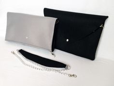 Grey and black TwoFelt bag - 2in1 - 2 clutchbags in 1 http://www.totostyle.pl/
