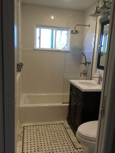 Finally done with our small hall bath. Sink and tub have all ...