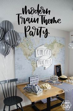 Chugga Two Two! Modern Train Themed Birthday Party - Joy Platt - Chugga Two Two! Modern Train Themed Birthday Party This is such a sweet train themed birthday party for a two year old! modern black and white decorations are a fun twist on the theme - 3 Year Old Birthday Party Boy, Fall Birthday Parties, 2nd Birthday Party Themes, Second Birthday Ideas, Trains Birthday Party, Boy Theme Party, Third Birthday, Birthday Bash, Fall Party Themes