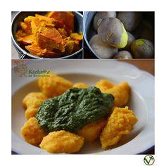 Kuchařka ze Svatojánu: DÝŇOVÉ NOKY SE ŠPENÁTOVOU OMÁČKOU Vegetarian, Vegan, Chicken, Cubs