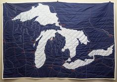 Great Lakes Quilt by Haptic Lab.  She hand makes these amazing quilts...$219. For the wall in my office?