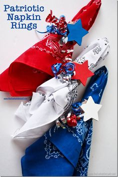 Festive Patriotic Napkin Rings! Perfect for the summer holidays from thatswhatchesaid.com