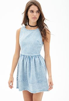 "Stone Washed Denim Dress | Forever 21 - 2000056879  A-line silhouette, stone washed denim fabrication. Finished with details like a shirred waist and an exposed back zipper,  Midweight, woven Unlined 95% cotton, 5% spandex 31.25"" full length, 32"" chest, 26"" waist"