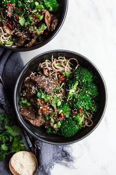 Broccoli Beef Soba Bowl