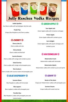 FUN homemade Jolly Rancher Infused Vodka Recipes