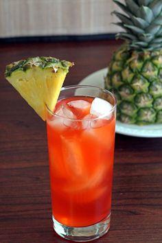 Western Sling cocktail drink recipe with cherry brandy, pineapple juice, gin, lemon and grenadine. Fruity Drinks, Frozen Drinks, Yummy Drinks, Pineapple Cocktail, Pineapple Juice, Cocktails, Cocktail Drinks, Martinis, Milkshakes