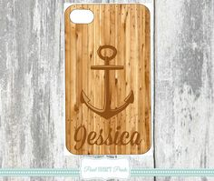 ANCHOR WOOD PHONE Cover Personalized Phone Cover Case Cases Custom Printed Samsung Galaxy IPhone Monogrammed Monogram Covers Wooden Cases by Pearlheartprints