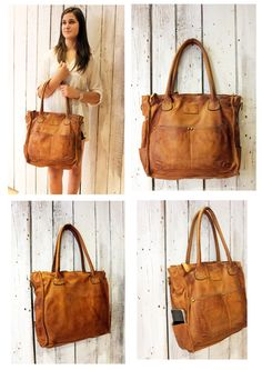 "Handmade Italian Brown Leather Messenger Bag ""MULTI TASC 11 "" di LaSellerieLimited su Etsy"