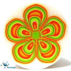 Green orange retro flower cane | by Marcia - Mars design