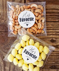 His & Her Favorite Favor Bag Stickers by Mavora