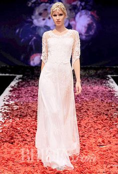 """Brides.com: Our Favorite Lace Wedding Dresses from the Bridal Runways. """"Julia"""" guipure lace A-line wedding dress with three-quarter sleeve and scoop neckline, with lace embroidery lined in pearl silk, Claire Pettibone  See more Claire Pettibone wedding dresses."""