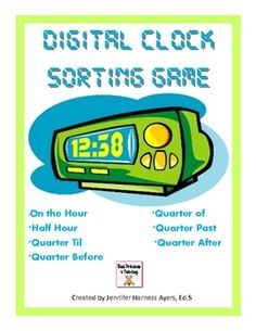Are your students struggling with recognizing time with quarter to, quarter after, half hour, and hour with digital clocks? Then, you need this! Students will quickly recognize the pattern of sorting these cards and Wallah! Mastery! Header cards and sorting cards are included. This can be graded with a quick glance!