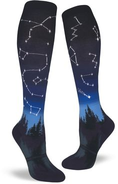 f09816e6cca95 Constellation knee socks by ModSocks depict a starry night sky over an  evergreen forest. Starry