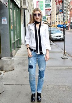 Get this look: http://lb.nu/look/8120172  More looks by Dani Mikaela McGowan: http://lb.nu/mermaidwaves  Items in this look:  Gap White Button Up, Who What Wear Black Skinny Scarf, Treasure & Bond  Distressed Denim, Wildfox Circle Sunnies   #classic #minimal #street #style #styleblogger #ootd #look #lotd #denim
