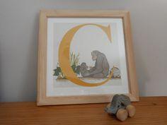 C for Chimpanzee  Nursery Alphabet Art by huxleyjonesdesigns