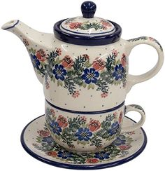 New Polish Pottery TEA FOR ONE SET Boleslawiec CA Pattern 1535 Euro Stoneware ** Clicking on the VISIT button will lead you to find similar pottery product