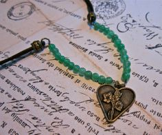 Earthy Beaded Leather Charm Necklace Heart of the by SimplyMim, $26.00