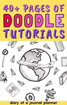 40+ pages of step-by-step doodle tutorials for bullet journal beginners! #bulletjournaldoodles #doodles #bujo Happy Doodles, Simple Doodles, You Doodle, Doodle Art, Birthday Doodle, Space Doodles, Bullet Journal Printables, Flower Doodles, Basic Shapes