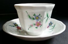 Antique 19th Century Handleless Cup and Saucer  Hand Painted Probably English #English